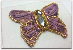 75marghe75 Bead By Bead: How to make a butterfly pendant with shibori silk ribbon and crystals. Technical Bead Embroidery tutorial