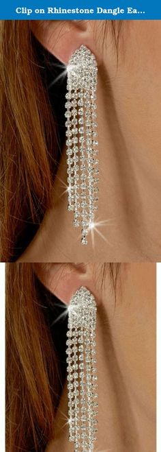 Clip on Rhinestone Dangle Earrings High Drama Best 5 Strand Multi Row Movie Star Glamour. Stunning Super Awesome 5 Strand Multi Row Rhinestone Earrings. Go for High Drama get most admirers.Never had pierced ears? Didn't want pierced ears but want to dress up with bling bling ears on special occasions! No problem. Glam it up with these 5 strand rhinestone quality earrings, perfect for most parties or casual.