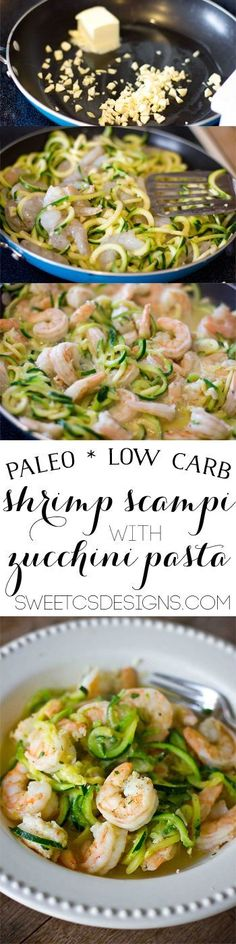 low carb shrimp scampi- with paleo friendly zucchini pasta! This is a delicious, healthy dish you can make in minutes!