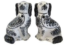 Pair of antique Staffordshire spaniels in a rare spongeware pattern, circa 1870. No maker's mark.