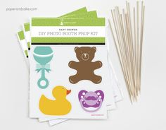 Such a great baby shower activity! Baby Shower themed photo booth prop kit from paperandcake.com