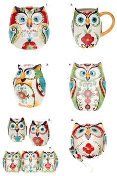 'Bella Owl' is a colorful range of dinnerware by Belk that consists of cute owl shaped appetizer plate, mug, owl cookie jar, platter, salt & pepper set, dip bowl with spreader and 3 sectional dish. Th