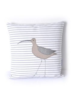 Nautical Pillow Curlew Appliquéd