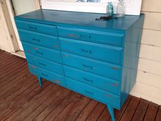 Shabby chic turquoise sideboard buffet. More furniture available @ www.facebook.com/groups/VintageReclaimed