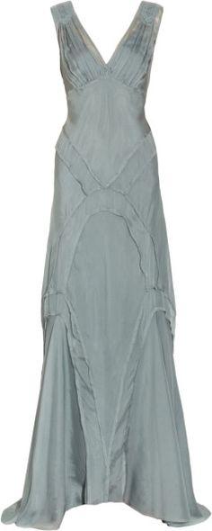 Lace-trimmed Silk-twill Gown - Lyst    jaglady