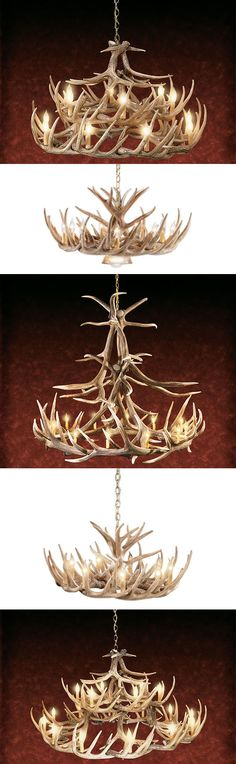 Our 30-, 24-, 12- and nine-antler whitetail chandeliers with down lamps create a perfect atmosphere for use over a dining room table.