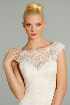 Love how it shows the collarbone, Alvina Valenta Style 9258, Ivory, Ivory