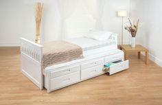 Single Bed Pine Captain Childrens Storage Underbed Drawers White Mattress Option in Home, Furniture & DIY, Furniture, Beds & Mattresses | eBay