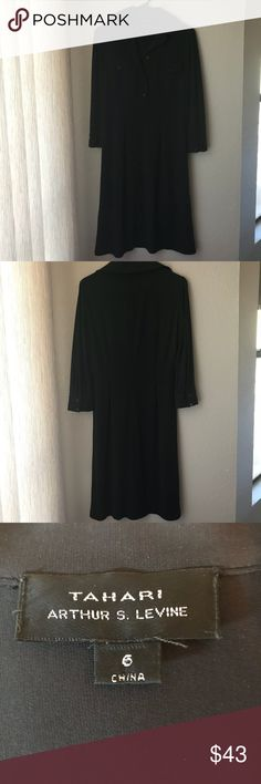 TAHARI Elegant Black Dress TAHARI Elegant Black Dress Elegant, Simple, Professional, Career, Business, wear to work or accessorize for evening, day to night   Size: 6  Has a nice stretch to it   Thank You for looking and please check out the rest of my closet Tahari Dresses