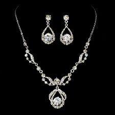 ELEGANT DIAMANTE BRIDAL JEWELRY SET Silver Rhinestone Necklace & Earring Set