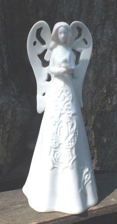 "10"" White Angel Figurine Porcelain Baby Jesus Ceramic Statue Figure Home Decor"
