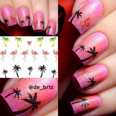 1 Sheet Hawaii Palm Tree Nail Art Water Decals Flamingo Design Transfers Stickers