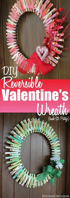 DIY Reversible Valentine's Wreath | KitchenCents.com A fun, festive Valentine's clothespin wreath {that's reversible for St. Patrick's} is a great DIY craft that will last from January toMarch.
