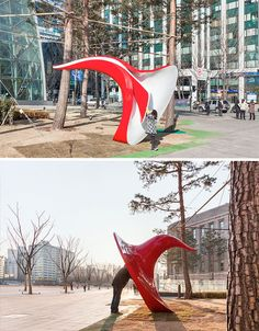 Called 'Yobosayo,' the Korean word used when calling to get someone's attention, this interactive sculpture records voice messages from passersby and shares them with others. You speak into the big red ear, and people inside the adjacent Seoul Citizens Hall listen.