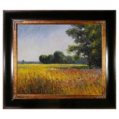 Add an artistic touch to your master suite or living room with this hand-painted and framed reproduction of Claude Monet's Oat Fields.