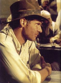 Harrison Ford as Indiana Jones on the set of Raiders of the Lost Ark.
