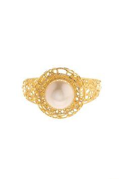 14K Yellow Gold Stil Nova Filigree Pearl Ring by Royal Chain Group on @HauteLook