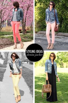 pair your denim jacket with stripes, plaid shirt, and colorful pants - any of them is a classic spring look