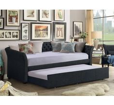 Alton Furniture Gianetta Twin Size Daybed With Trundle, Multiple Colors, Black Trundle Mattress, Twin Daybed With Trundle, Daybed Room, Wood Daybed, Extra Bedroom, Bed Slats, Home Office Design, Bed Furniture, Lounge