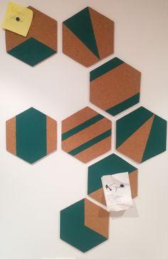 DIY corcho geométrico con planchas en hexágono