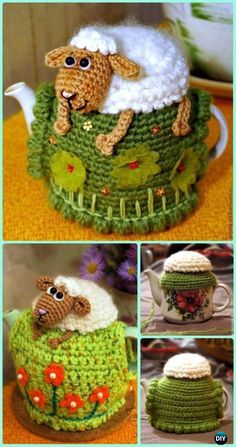 Crochet Sheep on the Hill Fairy Teapot Cozy Cover Pattern Free-Crochet Knit Tea Cozy Free Patterns