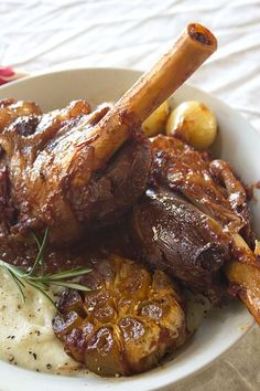 Lamb shanks in an amazingly tasty red wine and tomato sauce