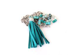Blue Leather Tassel Necklace