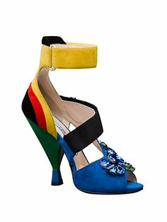Prada - Multicolored Suede Crystal-Detail Sandals - Saks.com