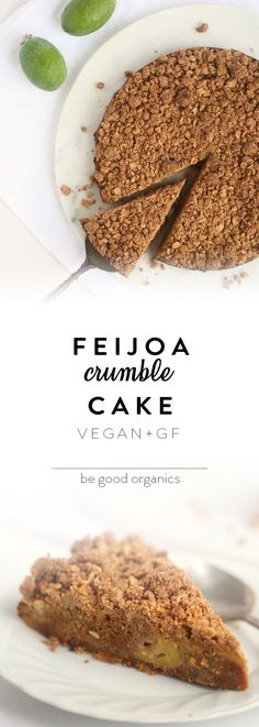 Feijoa Crumble Cake - Be Good Organics. With dates, cinnamon and vanilla. Vegan and GF. Fejoa Recipes, Sweet Recipes, Baking Recipes, Vegan Recipes, Vegan Food, Cooking Recipes For Dinner, Healthy Dessert Recipes, Healthy Baking, Healthy Treats