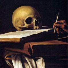 "Caravaggio (Italian, 1573-1610). ""Still Life with Skull."" A common symbol  of vanitas- a reminder of the certainty of death."