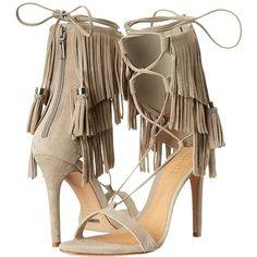 Schutz Kija High Heels ($200) ❤ liked on Polyvore featuring shoes, sandals, heels, lace up sandals, open toe heel sandals, lace up shoes, fringe sandals and high heel sandals