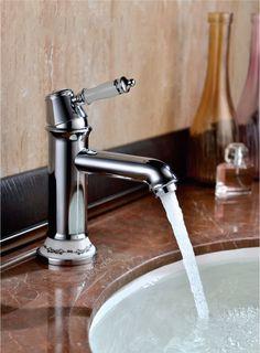 retro waschtischarmatur kreuzgriff messing antik waschbecken bad ... - Nostalgie Wasserhahn Küche