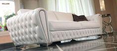 Sofá en cuero blanco