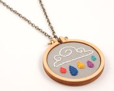 Rainbow drops cloud embroidered necklace or brooch por dandelyne