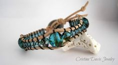 Leather Wrap Bracelet Teal and Black Funky by CristinaDavisJewelry, $25.00