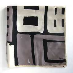 Vintage VERA Scarf Black Cream and Taupe Abstract by vintagedame