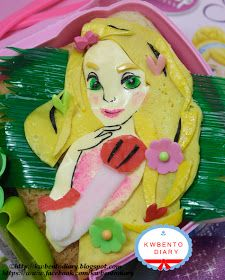 """Karenwee's Bento Diary: Bento#April16A~Tangled Rapunzel - """" made the green eyes, I crushed green fondants and spread to the cheese."""""""