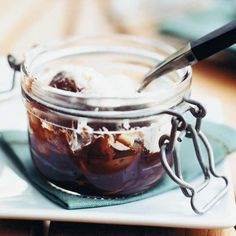 Rich Baked Chocolate Puddings | Although this deep, dark chocolate pudding is easily made in ramekins, it's fun to bake and serve in small glass jars. Pim Techamuanvivit likes using old, mismatched jam jars.