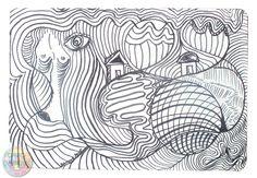 Dans ce dessin à l'encre il n'y a quasiment que des lignes courbes et très peu de pleins. Les Oeuvres, Creations, David, Artwork, Ink Drawings, Curvy Fit, Abstract Backgrounds, Artist, Work Of Art