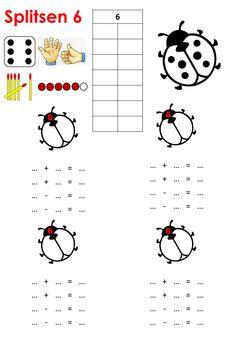 Splitsen van 6 met getalbeelden en bijbehorende sommen