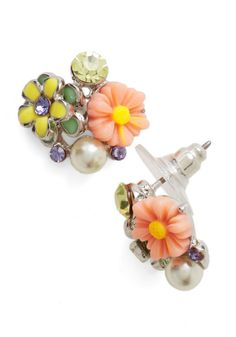 In Dew Time Earrings in Afternoon. When youre ready to step out to lunch, slip in these floral earrings! #coral #modcloth