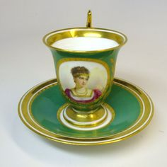 Fabulous hand painted portrait cabinet cup and saucer marked Imp de Sevres. Teapots And Cups, Teacups, My Cup Of Tea, Antique China, Tea Cup Saucer, Home Interior, Tea Time, Decoration, Tea Pots