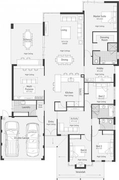 Goulburn dale alcock homes modern house plans, dream house plans, house flo New House Plans, Dream House Plans, Modern House Plans, House Floor Plans, Bedroom House Plans, House Rooms, The Plan, How To Plan, Home Design Floor Plans