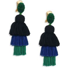 Oscar de la Renta Long Silk Tiered Tassel Clip-On Earrings ($450) ❤ liked on Polyvore featuring jewelry, earrings, oscar de la renta jewelry, beaded jewelry, tassel earrings, long clip earrings and beads jewellery