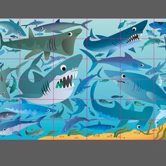 Under the Sea Picture Puzzle Book for Usborne illustrated by Gareth Lucas  #underthesea #sharks #childrensbook #puzzlebook #illustration #garethlucas