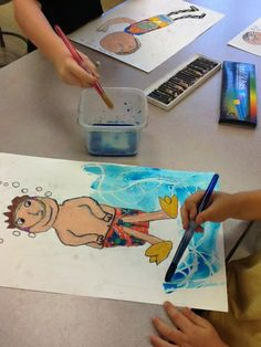 : Making a splash with David Hockney Oil pastel resist and water colours warm colours figure hair and bathing suit. White pastel for refracted light cool colours for water Art Lessons For Kids, Art Lessons Elementary, Art For Kids, Summer Art Projects, School Art Projects, Art Education Projects, David Hockney Art, David Hockney Pool, 3rd Grade Art