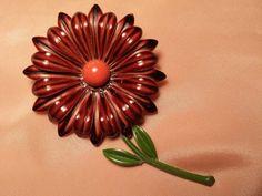 KEWL Big Brown & Orange FLOWER Power Pin VINTAGE by ceiltiques, $5.99