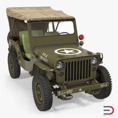 Jeep Willys 1944 3d model Convertible