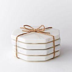 White Marble Stone Hexagonal Coasters | West Elm