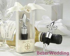 """"""" fleur de lis"""" cromo elegante tapón de la botella wj079( 50pcs/lote) decoración de la boda, regalo de eventos, fiesta de recuerdos"""